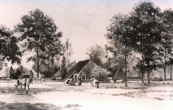 Photo: Schilderij ± 1912 De weg naar Gieten, achter de put woning Hoofdstraat 28