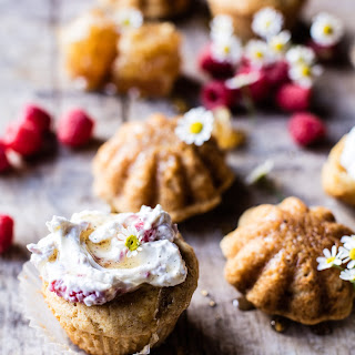 Salted Chamomile Honey Cakes with Raspberry Ripple Cream.