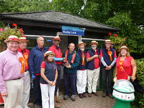 Photo: Handing over the bottle of Thames water to the Hurley lock keeper