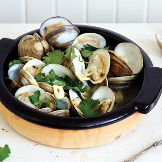 Clams Steamed with Vinho Verde, Garlic, and Cilantro
