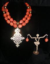 Photo: <BEREHYNYA> {Great Goddess Protectress} unique one-of-a-kind statement jewellery by Luba Bilash ART & ADORNMENT  #97 - BYZANTIUM ~ ВІЗАНТІЯ - brass Eritrean cross pendant; coral; brass beads; 14K gold $180/set SOLD