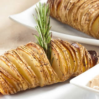 Hasselback Potatoes with Balsamic Mayonnaise Dipping Sauce.