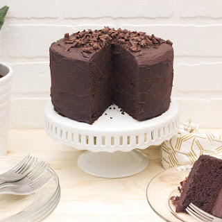Grain-free Chocolate Cake with Dark Chocolate Ganache Frosting.