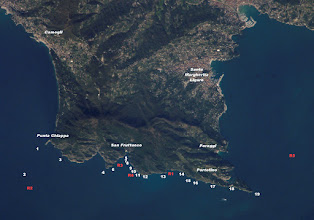 Photo: I punti di immersione del promontorio. (1) Punta Chiappa, (2) Secca dell'Isuela, (3) Grotta dell'Eremita, (4) Punta della Torretta, (5) Cristo degli abissi, (6) Punta dell'Indiano, (7) Dragone, (8) Colombara, (9) Secca Gonzatti, (10) Targa Gonzatti, (11) Scoglio del Raviolo, (12) Testa del Leone, (13) Scoglio del Diamante, (14) Cala Inglesi Est, (15) Altare, (16) Punta Vessinaro, (17) Casa del Sindaco, (18) Chiesa di San Giorgio, (19) Faro Relitti: (R1) Mohawk Deer, (R2) Ischia, (R3) Croesus, (R4) Schooner, (R5) Genova
