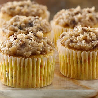 Carrot Cupcakes with Coconut Pecan Frosting.