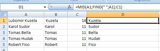 Excel: Práca s textovými reťazcami v bunkách 9