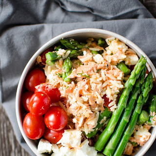 Spring Orzo Salad with Roasted Salmon.