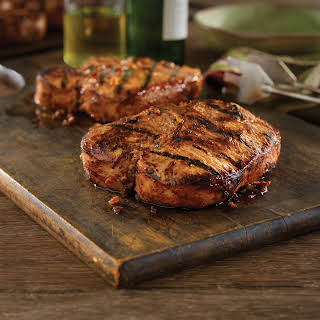 Grilled Bone-in Pork Chops with Hawaiian Marinade.