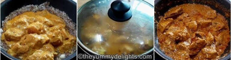 step by step collage of adding marinated chicken & cooking it to make dahi chicken roast