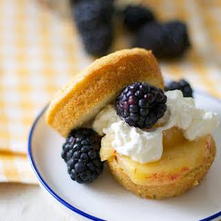 Mini Grain Free Pound Cakes with Peaches, Blackberries and Cream.