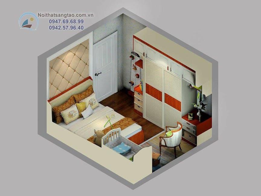 phòng ngủ bố mẹ và bé