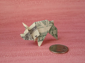 Photo: Model: Money Pig;  Creator: Paul Jackson;  Folder: William Sattler;  1 dollar;  Publication: Practical Origami (Rick Beech) ISBN 1-84309-392-8