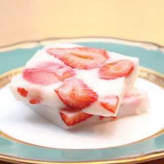 Strawberries in Milk Jelly with Agar-Agar.