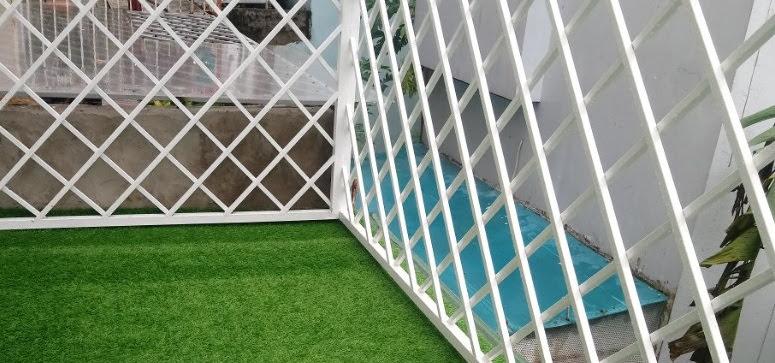 Vị trí Sân hiên xài Thảm cỏ nhựa thiết kế đẹp