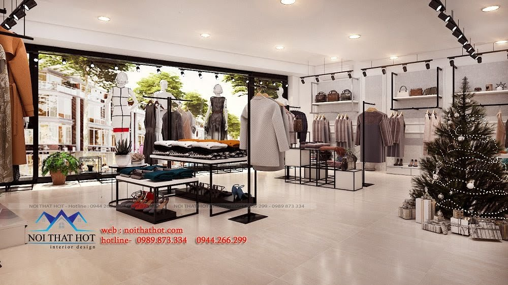 thiết kế shop thời trang thông thoáng