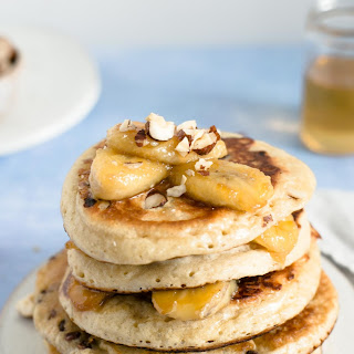 Caramelised Banana and Hazelnut Pancakes.
