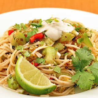 Angel Hair with Roasted Tomatillos and Poblanos.