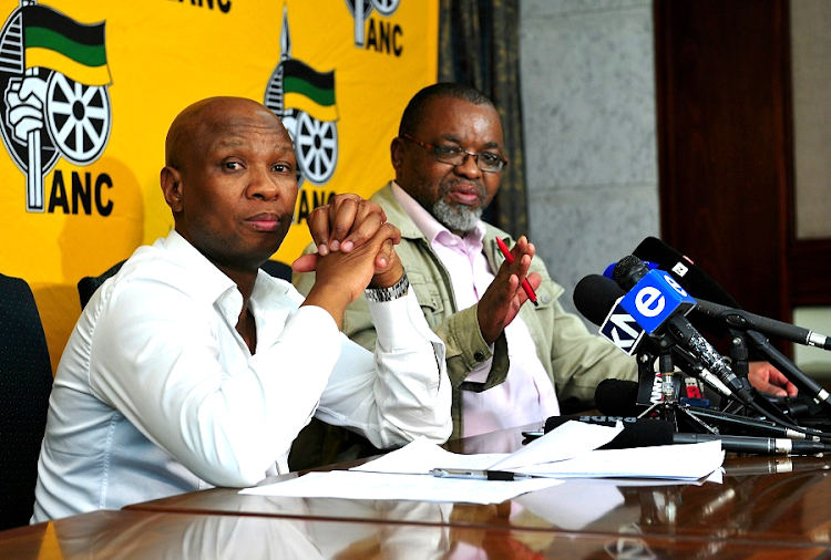 African National Congress spokesman Zizi Kodwa and secretary-general Gwede Mantashe. Picture: VELI NHLAPO