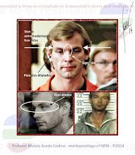 """Photo: JEFFREY LIONEL DAHMER  Jeffrey Dahmer (1960-2010), fue asesinado en la prisión de Ohio Milwaukee. Tuvo una buena infancia y era un niño muy cariñoso, pero de adulto se convirtió en uno de los peores asesinos. Utilizaba ácidos para deshacer carne y huesos, pero solía conservar la cabeza y los genitales como trofeo. Otra de sus características era comerse parte de sus víctimas, dándole la sensación de que así """"formaban parte de él"""". Aun siendo un gran asesino, Jeffrey era considerado un tipo afectivo, cariñoso, educado y simpático. Muchos aseguran que era como tratar con un niño grande. Observemos detenidamente varios elementos de su rostro:  Ojos átonos y hundidos: débil consciencia y desconexión del mundo real. Es decir, la persona es inconsciente en cuanto a lo que le sucede a su alrededor, viviendo en un mundo apartado de la realidad.  Sienes extremadamente apretadas: este elemento enciende la mecha del explosivo. Cuando las sienes se encuentran tan aprisionadas, la posibilidad de ser un asesino asciende en picado. Este elemento produce pensamientos laberínticos, que tienden a degenerar en locura.  Pómulos muy dilatados: las personas con pómulos tan anchos, utilizan la violencia cuando llega el momento, para implantar su voluntad. Existe narcisismo e imposición.  cuando existen inarmonías en el rostro, tarde o temprano salen a la luz... Mayormente son personas con un gran impulso, que aun contenido tras un carácter de introversión, puede salir con toda la dureza en el momento oportuno. Pueden parecer locos psicóticos en un primer lugar... pero en muchos casos no es así. Este comportamiento es generado por una disociación, que llevada al extremo da lugar a trastornos de personalidad múltiples, como si fuesen dos personas """"EL QUE ACTÚA Y EL QUE SE APARTA"""". Ello es generado por consecuencia de grandes pulsiones no satisfechas, generalmente emocionales y sexuales. En un principio ellos creen estar """"haciendo algo bueno"""", pero por la disociación, puede volverse m"""