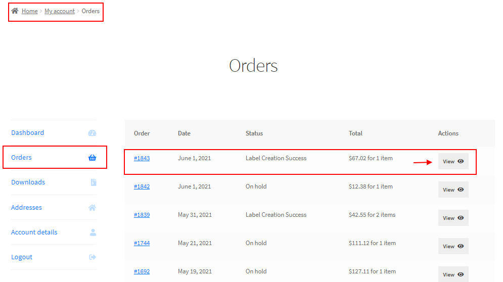 Shipping Calculator, Purchase Shipping Label & Tracking for Customers | All orders page