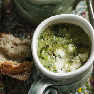 Green Vegetable, Mint and Ricotta Soup.