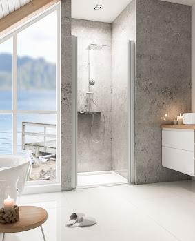 Porte de douche pivotante en niche 80, 90 ou 100 cm