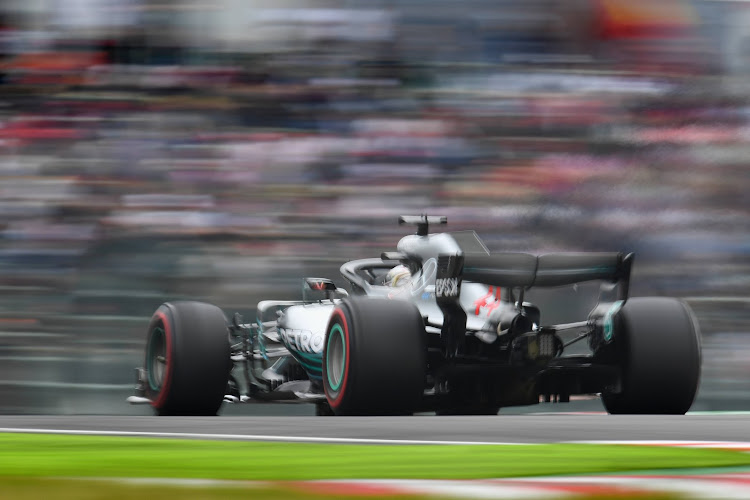 Lewis Hamilton of Great Britain driving the (44) Mercedes AMG Petronas F1 Team Mercedes WO9 on track during practice for the Formula One Grand Prix of Japan at Suzuka Circuit on October 5, 2018 in Suzuka.