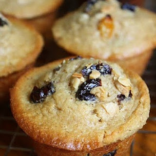 Brown Sugar Buttermilk Muffins with Marcona Almonds, Dried Cherries, and Dried Apricots.