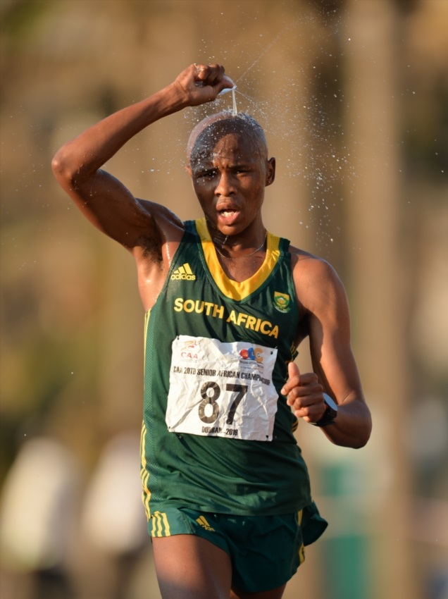Lebogang Shange of South Africa during the 20km race walk on Durban's beachfront on day 5 of the CAA 20th African Senior Championships at Kings Park Athletic stadium on June 26, 2016 in Durban, South Africa.