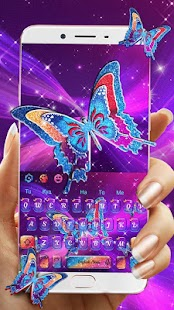 Neon Butterfly Badge Keyboard Theme - náhled