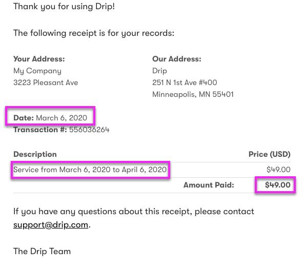 Drip invoice.