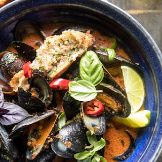 Thai Coconut Mussels with Garlic Lemongrass Toast.
