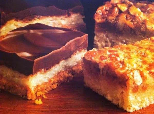 Triple Layer Cookie Bars (left) Pecan Pie Bars (right)