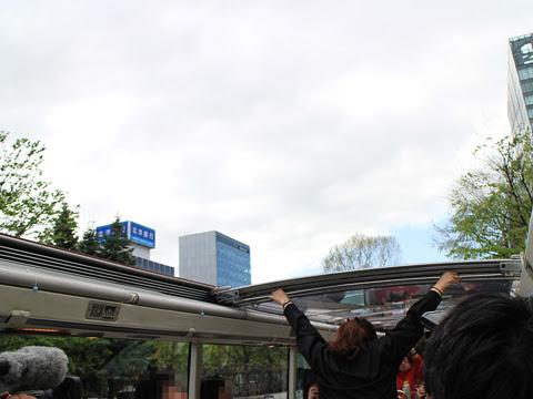 ウィラー(網走バス)「レストランバス2018」 8888 試乗会 車窓_07 ルーフ開放