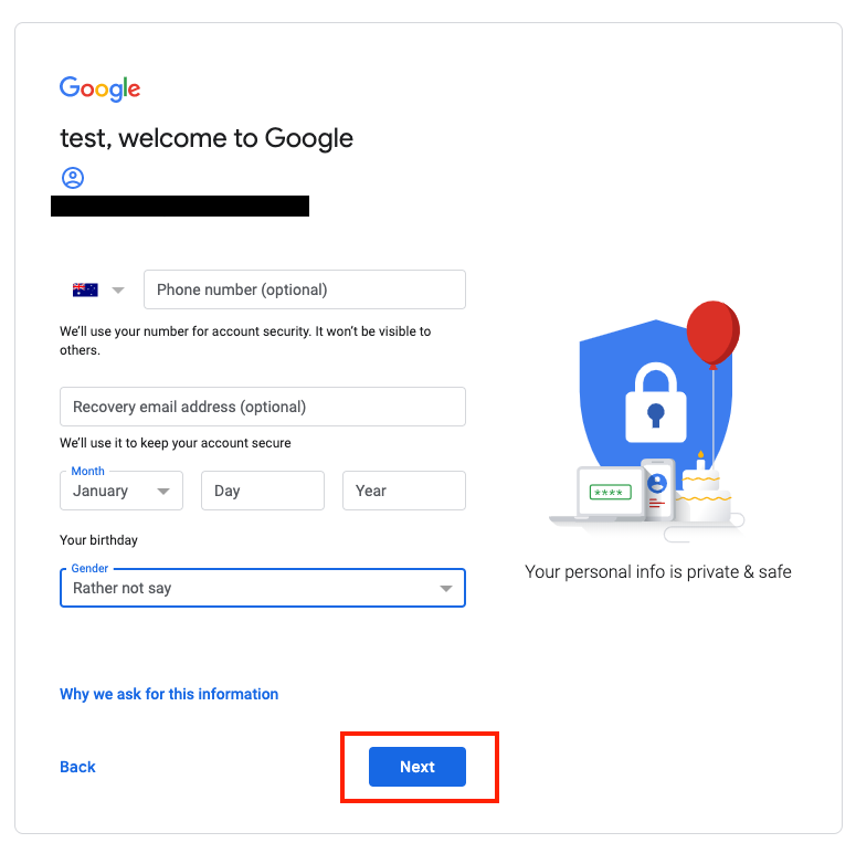 Google Account Sign Up 2
