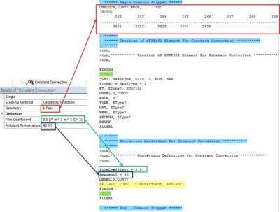 ANSYS | Объект для задания граничного условия конвективного теплообмена и созданные им APDL-команды в файле ds.dat