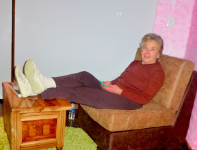 Photo: Sheila relaxing in the room after dinner