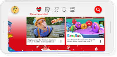 A Google phone screen showing YouTube for Kids.
