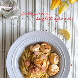 Scallops & Bacon Spaghetti Aglio e Olio.