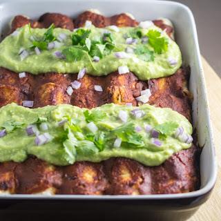 Chickpea Scramble Breakfast Enchiladas with Chipotle Sauce and Avocado Cream.