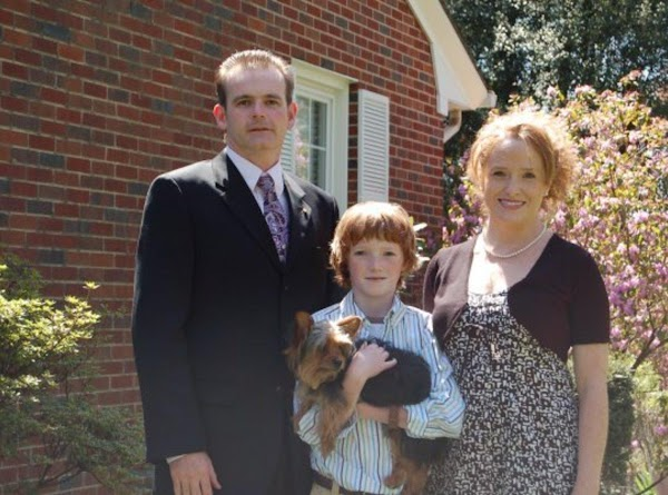 13. My family at Easter. Husband David, son James Harrison, Ollie and me.
