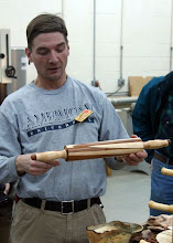 Photo: Tom Ankrum's first segmented piece -- an interesting maple and walnut rolling pin.