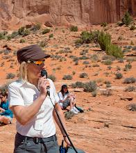Photo: Rabbi Jamie Korngold, teaching the group at a bonus stop, during the Adventure Rabbi Passover in Moab Retreat.