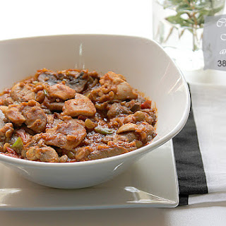 Chicken with Mushroom and Brown lentils.