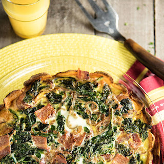 Sweet Potato, Spinach, And Bacon Quiche.