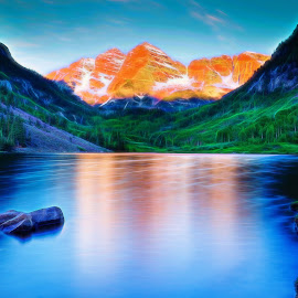 Maroon Bells Glow by Jim Buchanan - Digital Art Places