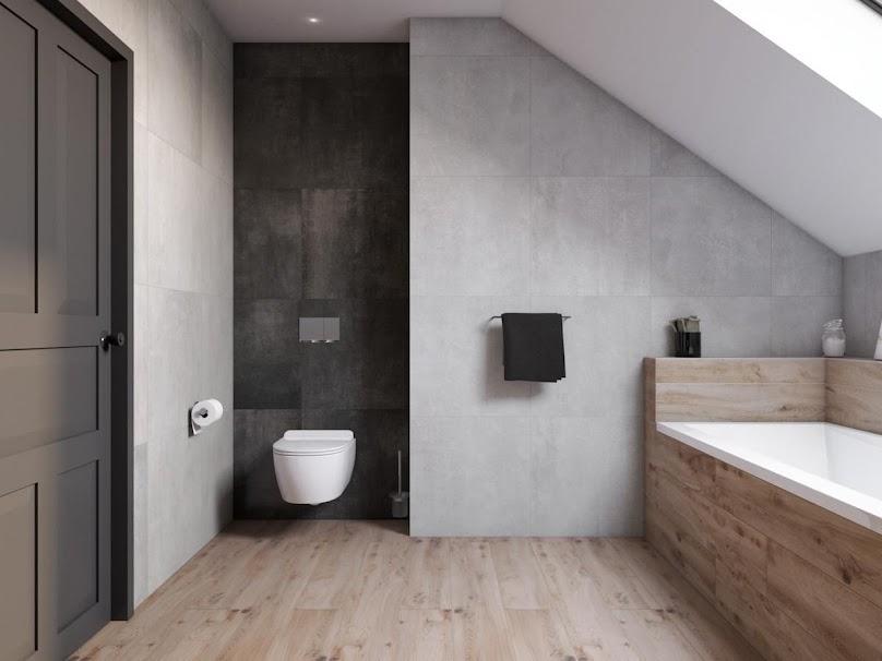 Modna i mała łazienka ze skosami