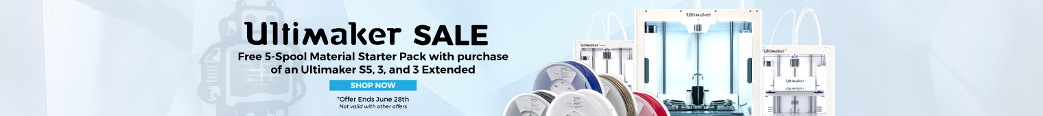 Free 5-Spool Material Starter Pack with purchase of an Ultimaker S5, 3, or 3 Extended