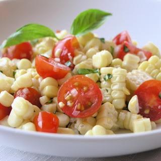 Fresh Corn Salad w/ Tomatoes & Basil