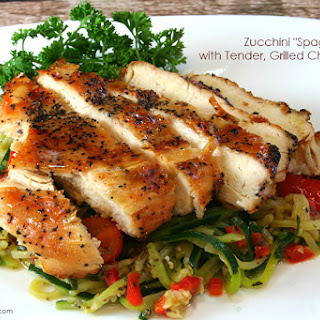 Zucchini Spaghetti with Tender, Grilled Chicken
